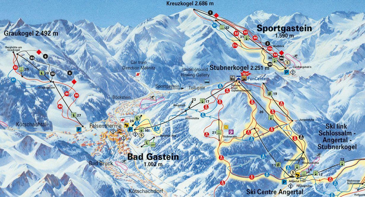 Bad Gastein - Pistekort
